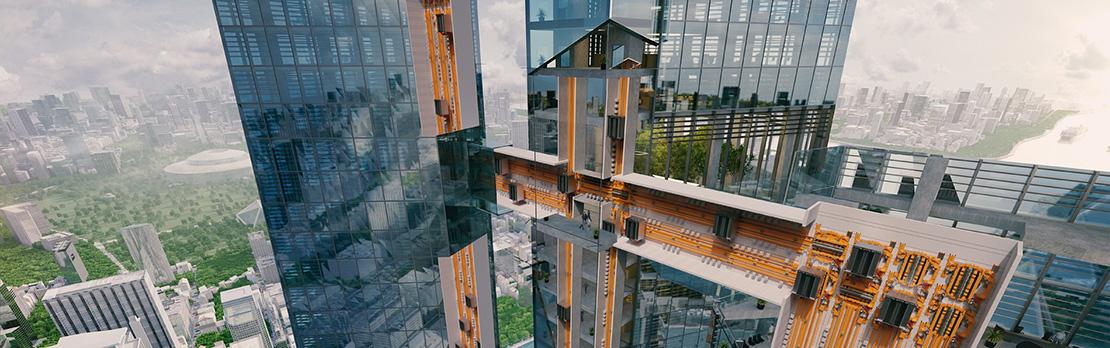асансьор ThyssenKrupp MULTI разрез на сграда