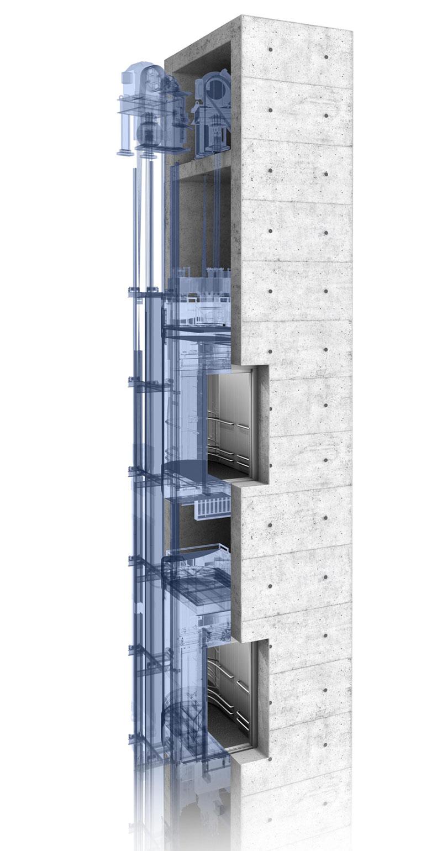 асансьор TWIN разрез на шахта