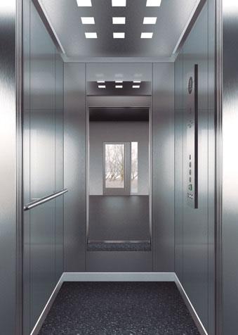 подсилена кабина срещу вандализъм дизайн F30 на асансьор ThyssenKrupp Synergy 100