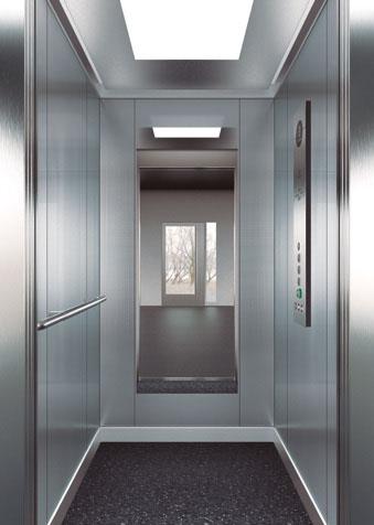 подсилена кабина срещу вандализъм дизайн F31 на асансьор ThyssenKrupp Synergy 100
