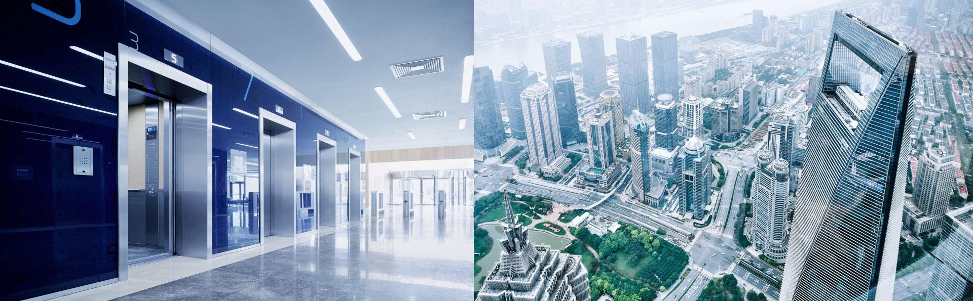 асансьори ThyssenKrupp интериорна снимка и небостъргачи поглед от високо